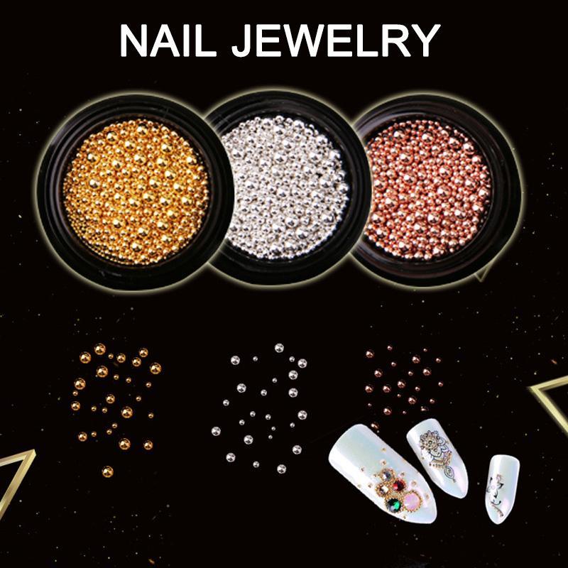 Vente en gros Nail Art Décoration Perles Métal Or Argent bricolage Outils Nail Art 3D Nails femmes Decors M3