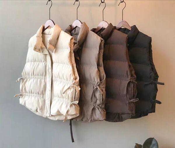 Kadınların Kore gevşek bel ceket trendi için Sonbahar ve kış 2019 yeni stil ipli ve kolsuz Aşağı Yelek Ceket