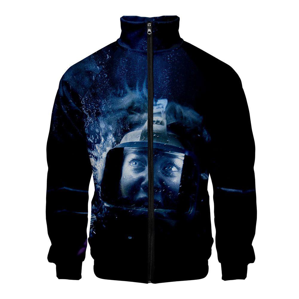 Cross-border selling shark drama surrounding sea 47 Meters Down 3D color trend stand collar zipper jacket hoodies