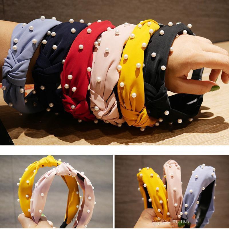 İnci Düğümlü Hairband Moda Saç Aksesuarları ile İnci Kafa Hoop Saç Tie Knot Hairband Düğüm Geniş Hairband