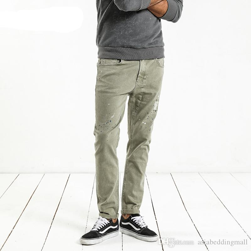 Mode malen splat 2019 vintage männer jeans lässig loch reißverschluss jeanshosen mann hosen