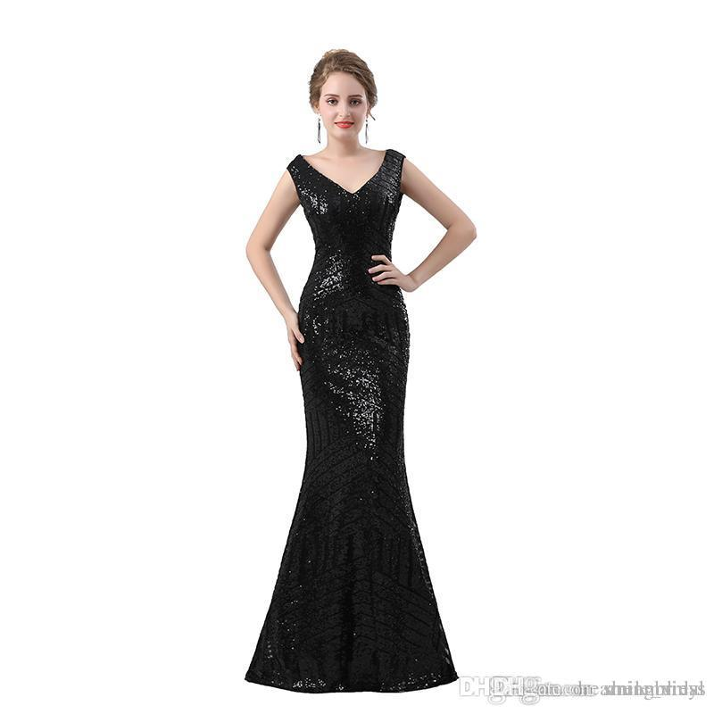 2018 Black Sequined Evening Dress Mermaid Lace Sheer Back Bling Bling Elegant Evening Gowns Robe De Soiree SE6604