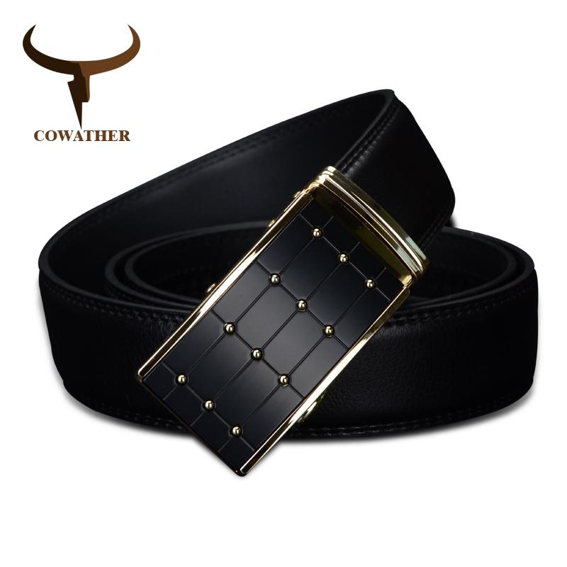 Cowather 2019 High Quality Cow Genuine Fashion Leather Men`s Belts For Men Strap Automatic Buckle Cinto Masculino110-130cm Long Y19051803