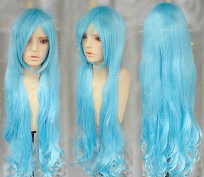 Peluca Peluca rizada resistente al calor caliente Peluca nueva Cosplay o-ni-san Princesa Long Water Blue