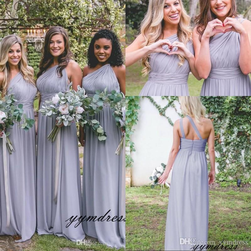 Grey Chiffon Long Bridesmaid Dresses 2019 Sexy One Shoulder Ruffles Open Back Wedding Party Dress Graceful A-Line Gowns