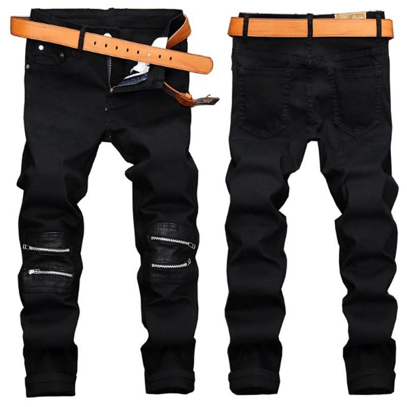 Yeni Tasarımcı Erkekler Jeans Erkek Sıkıntılı Skinny Jeans Klasik İnce Moto Biker Nedensel Erkek Denim Pantolon Hip Hop Erkekler Jeans J41 yıkanmış Ripped