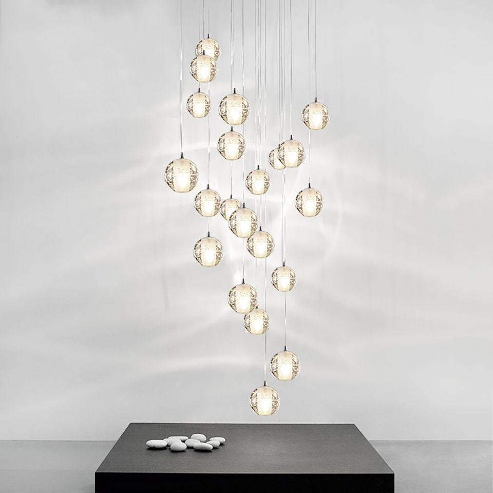 Lamba için, Hotel Villa Dubleks Daire Asma Modern Kristal Cam Topu LED Kolye Işıklar Fikstür Çoklu Merdiven Lambalar Bar