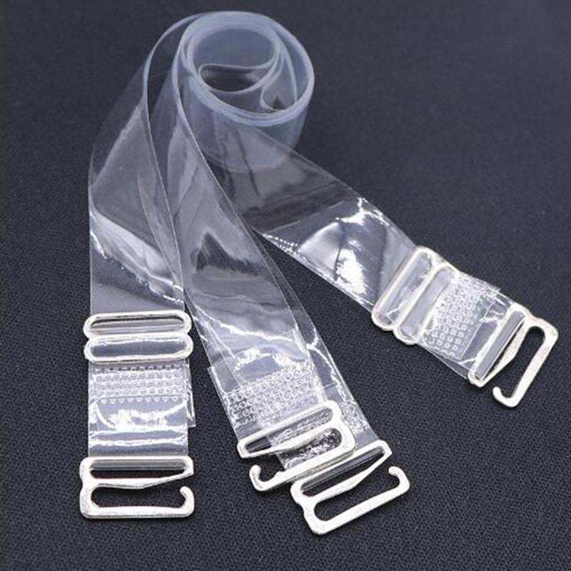1 pair of silicone high elastic shoulder strap bra transparent sexy shoulder strap thick non-slip underwear W0002