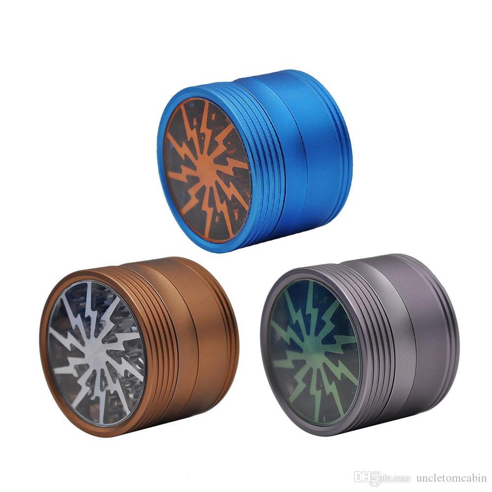 Smerigliatrici di erbe originali premium Smerigliatrici in lega di alluminio con smerigliatrice per vetri trasparenti Top 4 pezzi Smerigliatrici Fumatori Accessori
