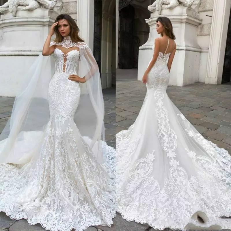 Luxury Beach Mermaid Wedding Dresses With Caped Sexy Lace Appliques Fishtail Train Country Wedding Dresses 2020 Plus Size Boho Bridal Gowns