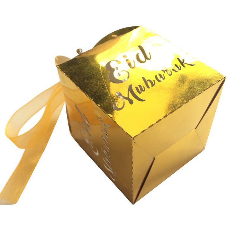 Los favores del partido para niños 50pcs papel de la perla Oro Plata feliz Eid Mubarak el Ramadán caja decoración del corte del laser de la cinta cajas del caramelo D08D
