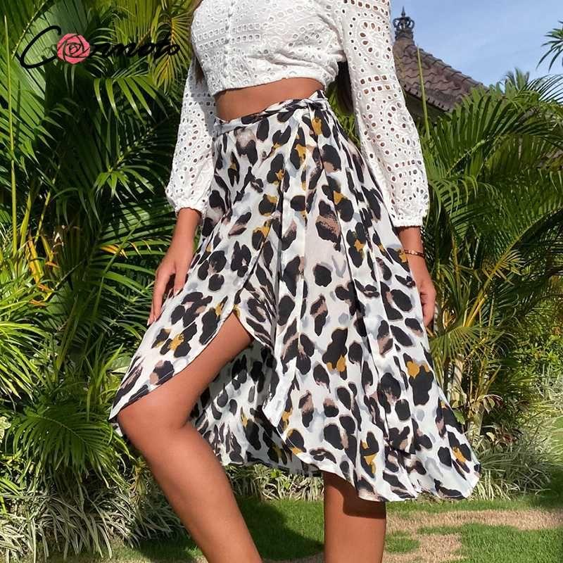 Conmoto ocasional além de senhora tamanho envoltório saia sexy fenda sexy leopardo midi mulheres saias de cintura alta arco saia de verão fashion feminino