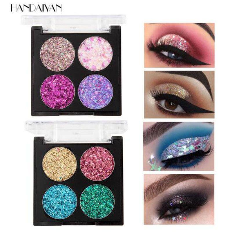 جديد 4 ألوان بريق حقن الضغط يلمع واحدة عينيه الماس rainbow مستحضرات التجميل ظلال العيون المغناطيس لوحة dhl مجانا