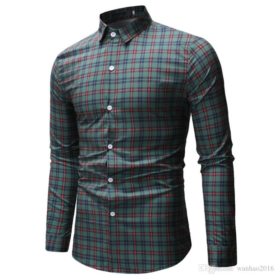 Camicia casual nuovi uomini di arrivi a maniche lunghe Fashion Design stampato a quadri stile Cotone Materiale di ultimo trasporto libero