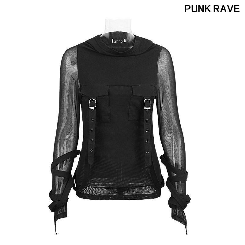Moda pesada oscuridad de Steampunk de la calle de la camiseta de la capilla de Big Negro translúcido de manga larga de estiramiento T tapas de la camisa con capucha PUNK RAVE T-407