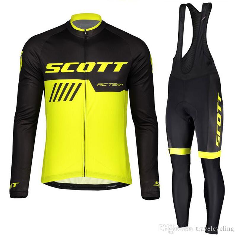 SCOTT Team cycling jersey Set Tour de france long sleeve mountain bike clothes road bicycle wear Men autumn cycle sportswear Y081509