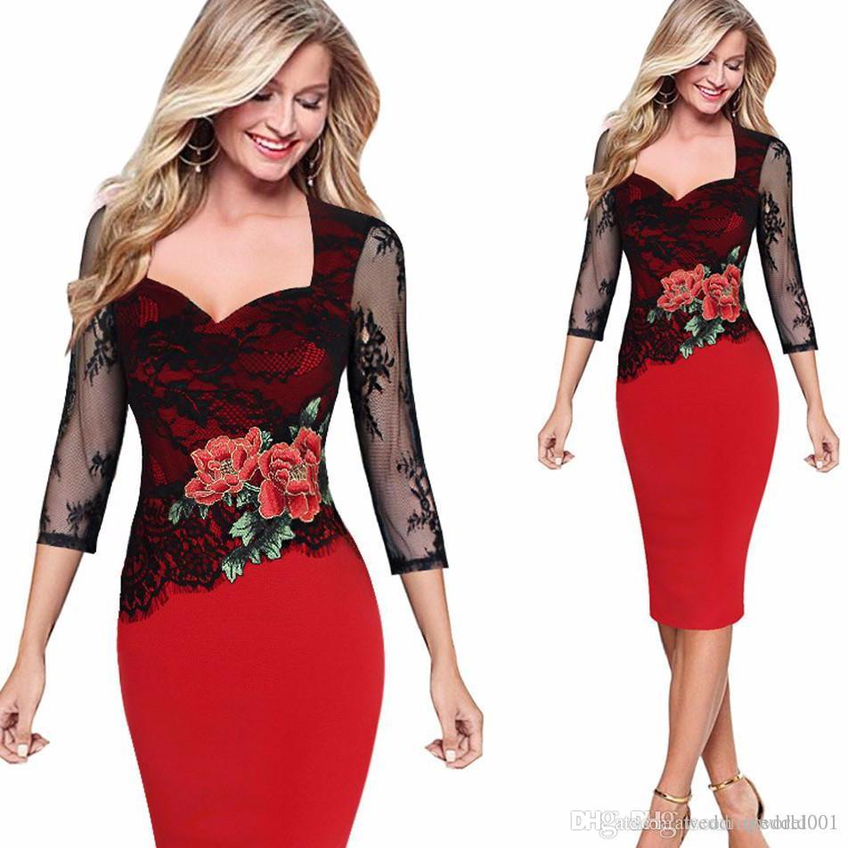 Embroidered Floral See Through Lace Party Evening Bridemaid Mother of Bride Special Occasion Embroidery Dress