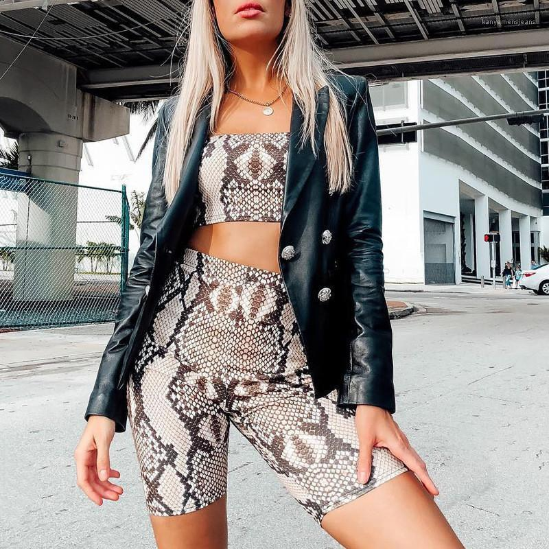 Print Designer 2Pcs Short Suits Sexy Summer Tube Top Slim Casual Female Clothing Backless Night Club Style Tracksuits New Womens Serpentine