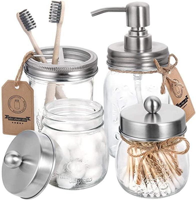 Mason Jar Bagno accessori Coperchi Set (4 pezzi) - Jar non inclusa - Soap Dispenser Holder Coperchio Spazzolino Apothecary Jars bagagli Coperchi IIA154