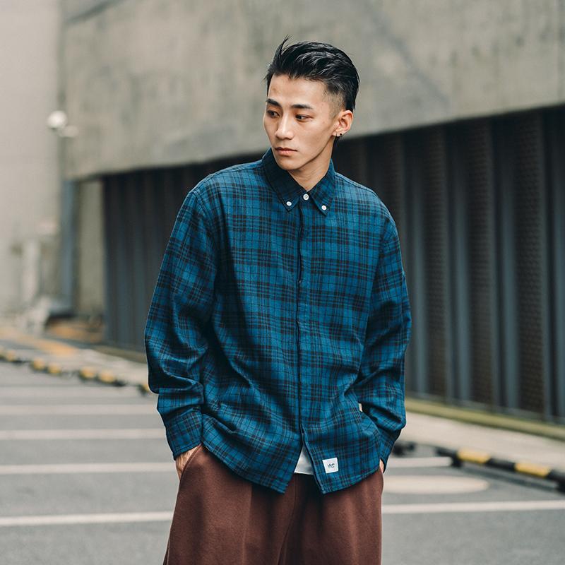 Pamuk Mavi Erkek Uzun Kollu Gömlek Kontrol Japon Retro Ekose Gömlek Erkekler Gevşek Casual Sonbahar Haki Erkek Casual Clothingb50