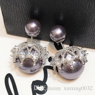 New 925 sterling silver needle double pearl earrings hollow crown stud earrings European and American fashion zircon earrings ear jewelry
