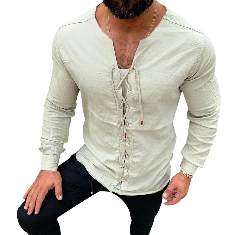 Erkekler Casual Saf Renk urgan Pamuk Keten Gömlek Slim Fit Sosyal Harajuku Bluzlar Yuvarlak Yaka Erkek Beyaz Uzun Kollu Giyim