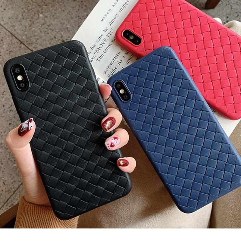 Stylish Knitted Weaving Soft Tpu Back Case For Iphone Xs Max Xr X Fashion For Iphone 6 6s 7 8 Plus 5 5s Se Case Back Breathable Check Design Western Cell Phone