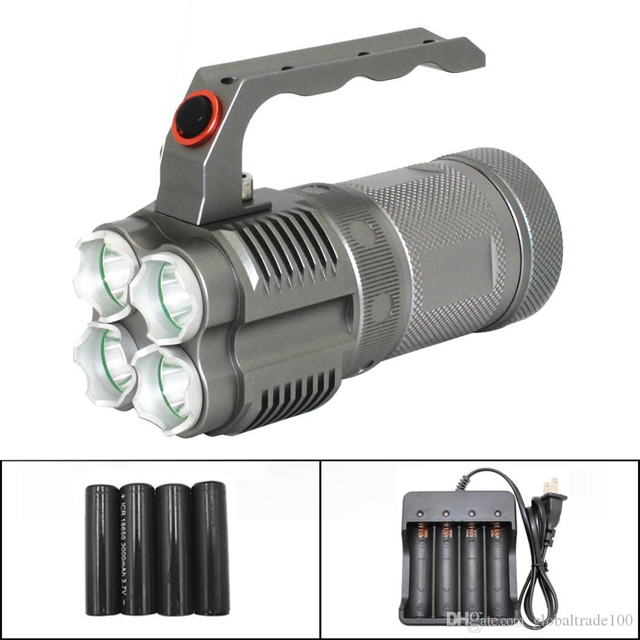 LED Flashlight 4 * XM-L2 LED 4500LM Light 40W Powerful 135mm Length Heavy Duty Tactical Torch Lamp Flashlights