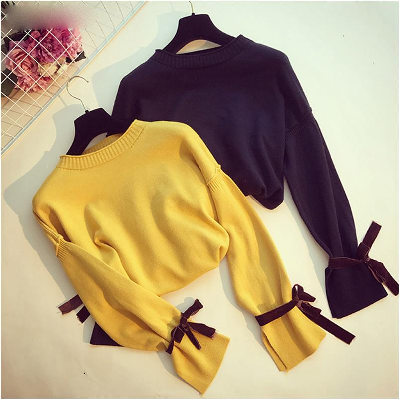 Frauen Designer-Pullover Designer Sweater süße Frauen Bow Tie Up Sweater Split Side Pullover Frühlings-Herbst-Strickjacke lose Aufflackern-Hülsen