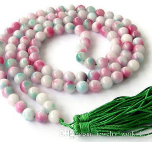 necklace Free shipping ++++Natural 8mm stone Colored jade 108 Prayer Beads Mala Bracelet Necklace