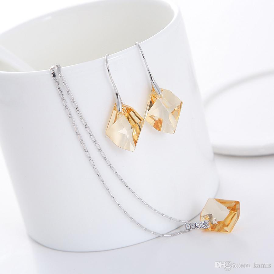 square crystal pendant necklace dangle earrings set Made with Swarovski Elements for women wedding party jewellery bijoux gift