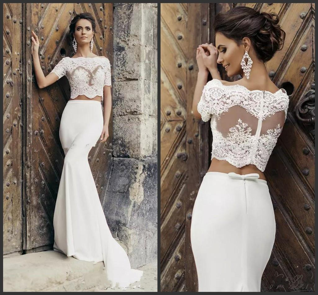 2019 Chic Crop Top Mermaid Wedding Dresses Illusion Bodice Short Sleeves Two Piece Wedding Dresses Vintage Beach Bridal Dresses With Jacket