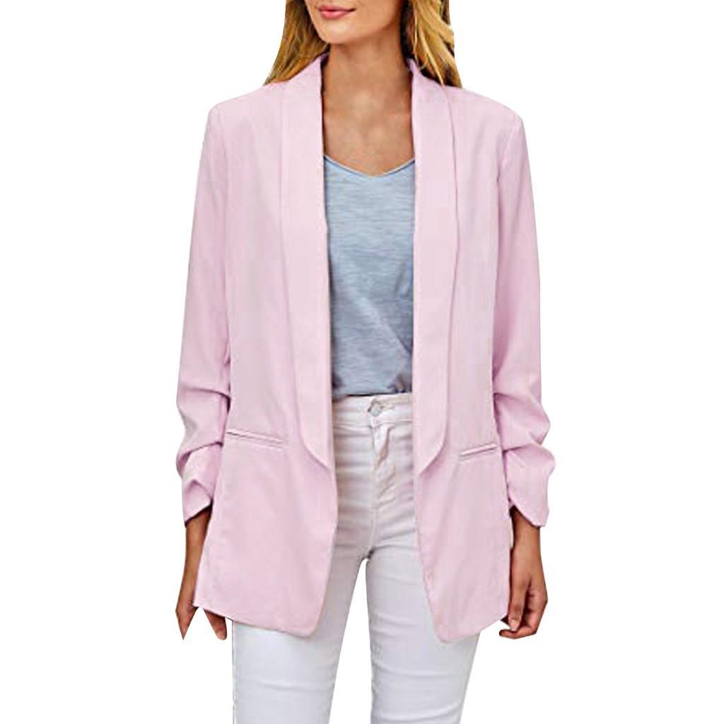 여성 우아한 재킷 압착 긴 소매 겉옷 없음 포켓 오피스 캐주얼 재킷 열기 전면 맞춤 오피스 가디건 자켓 #W