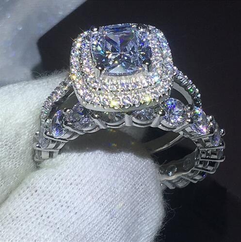 Vecalon 약속 반지 세트 여성 남성의 보석 다이아몬드 Cz에 스톤 925 스털링 실버 약혼 결혼 밴드 반지