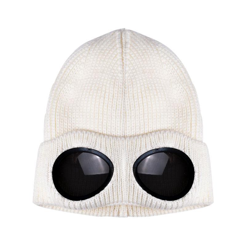 Tejer desmontable espesado Invierno de punto sombrero caliente del casquillo de esquí a prueba de viento con extraíble Gafas Hombres Mujeres