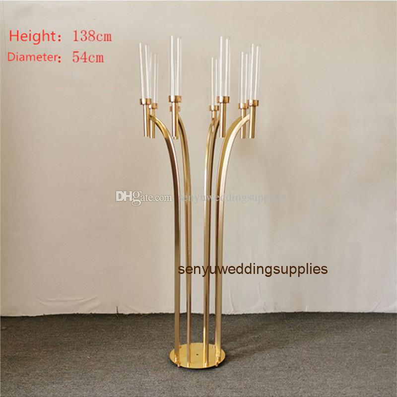 New style bowl shaped silver gold crystal candlestick crystal pillar aisle walkway stand for wedding centerpiece decoration senyu0320