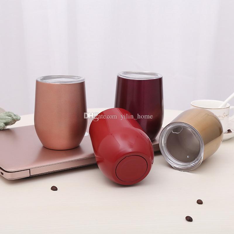12OZ 진공 컵 304 스테인레스 스틸 머그잔 차량용 물병 와인 텀블러 4 가지 색상 선택 가능