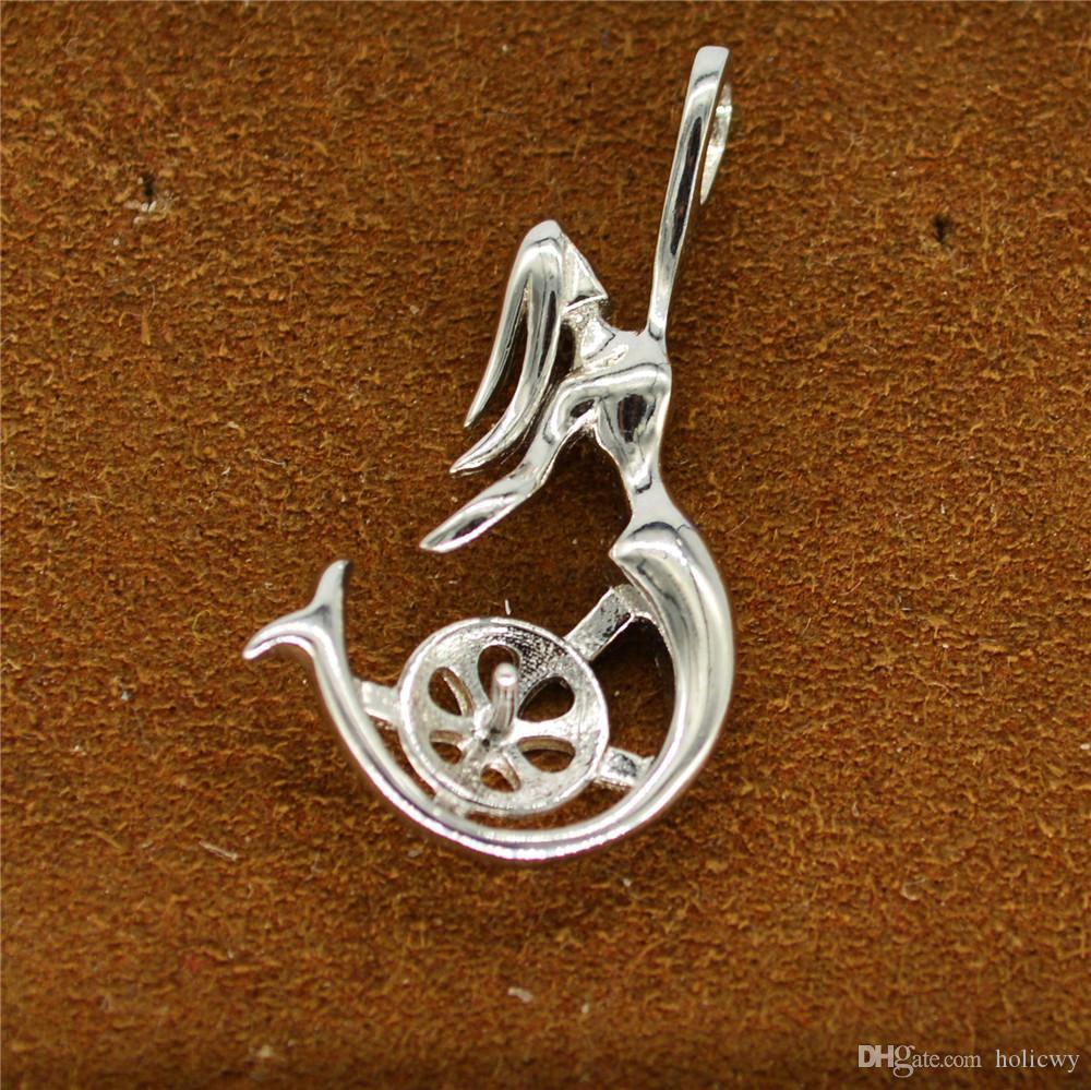 Whloesale S925 sterling silver Pendants setting mermaid pendant mountings for women pearl jewelry diy