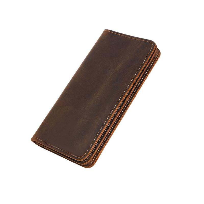 Men's Retro Simply Style Crazy Horse Real Leather Long Wallet Genuine Leather Bifold Purse Male Coin Card Holders Y19052701