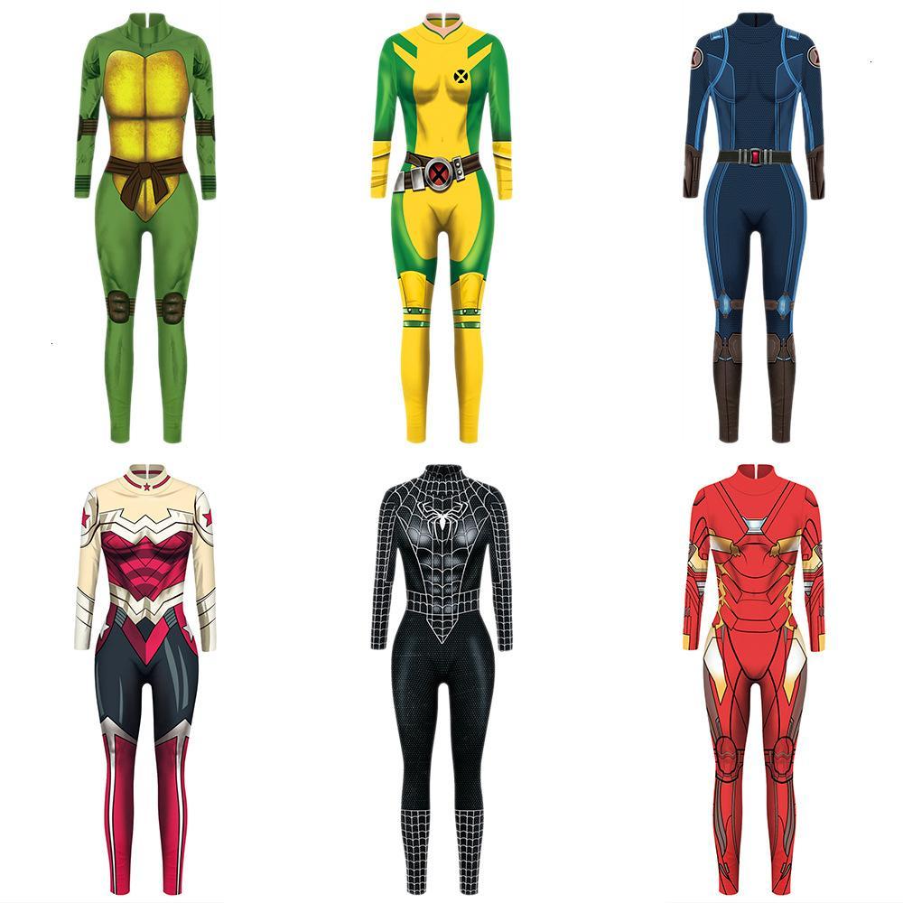 VIP FASHION 2019 New 3D Black Spiderman Captain Marvel Endgame Costume Cosplay Women Marvel Movie Wonder Woman Jumpsuit CostumesMX190921