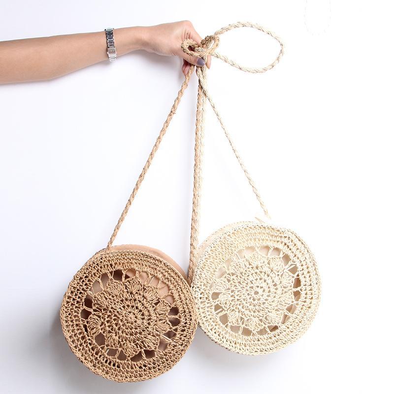 Moda nueva bolsa de paja mujer hombro mensajero hecho a mano bolsa de paja tejida ronda hadas hueco playa vacaciones