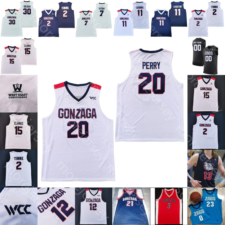 مخصص غونزاغا بلدغ كرة السلة جيرسي NCAA كلية جون ستوكتون فيليب Petrusev جالين سوغز ادمون غيلدر Timme واتسون Ayayi Woolridge