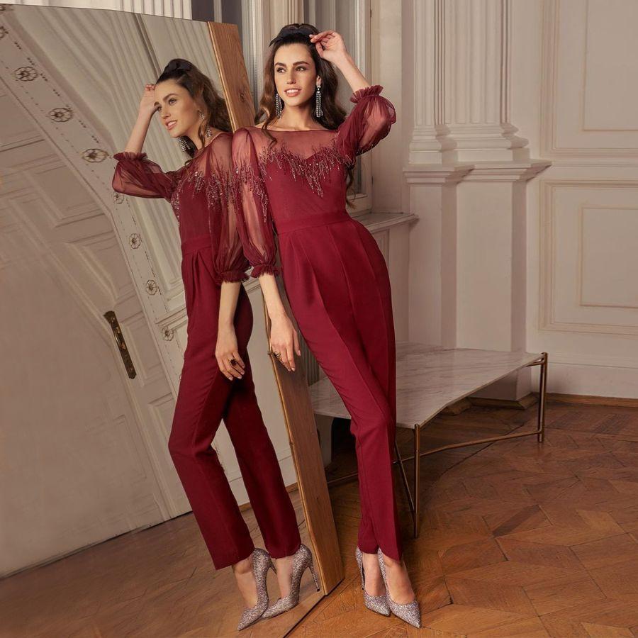 Dark Red Jumpsuit Promkleider Sheer Bateau-Ausschnitt Halbarm Appliqued Abendkleider bodenlangen Tüll mit Pailletten formales Kleid