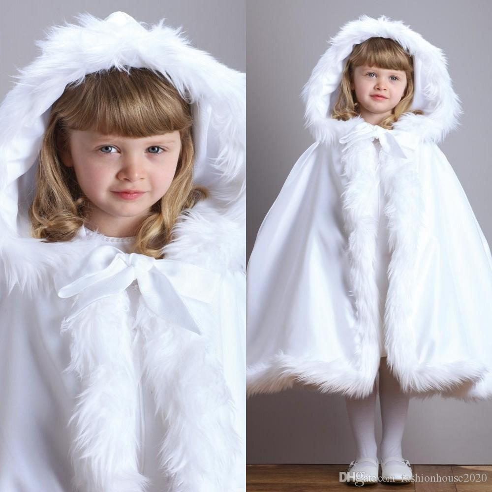 2020 Hot Sale Cheap Hooded Flowers Girls Cape Free Shipping For Wedding Cloaks White Ivory Faux Fur Winter Wedding Jacket Wraps Tea Length
