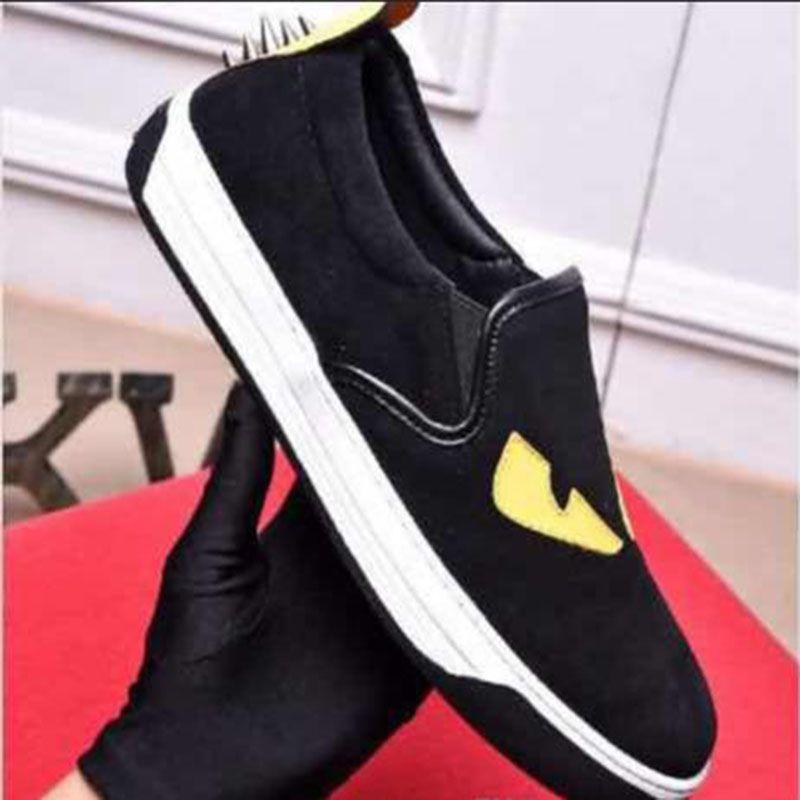 2020 hombres del estilo casual zapatos al por mayor ojos amarillos pequeños pequeño monstruo ojos de los hombres zapatos planos de las zapatillas de deporte des Chaussures envío de la gota 38-44 SD1