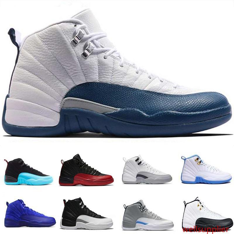 Yeni 12 erkek basketbol ayakkabıları Koyu gri gama mavi playoff yüksek kurt yün gri GS Barons spor fransız mavi spor kırmızı spor ayakkabı
