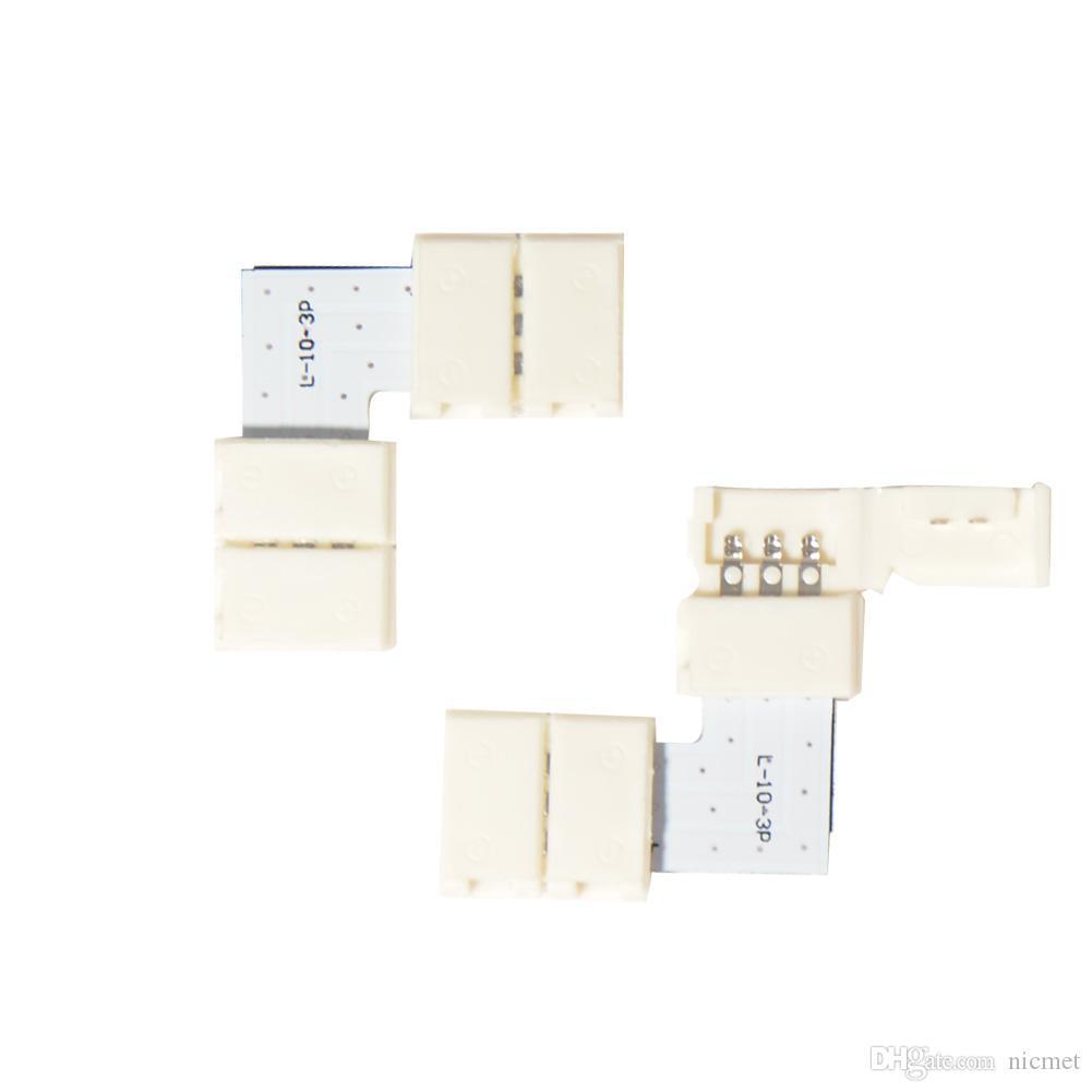 10 개 세트 2PIN의 L의 8mm / 10mm의 L 모양 3 4 5IN L 커넥터 싱글 컬러 3528 5050 또는 WS2812B WS2811 WS2801 Led 스트립 납땜을 위해