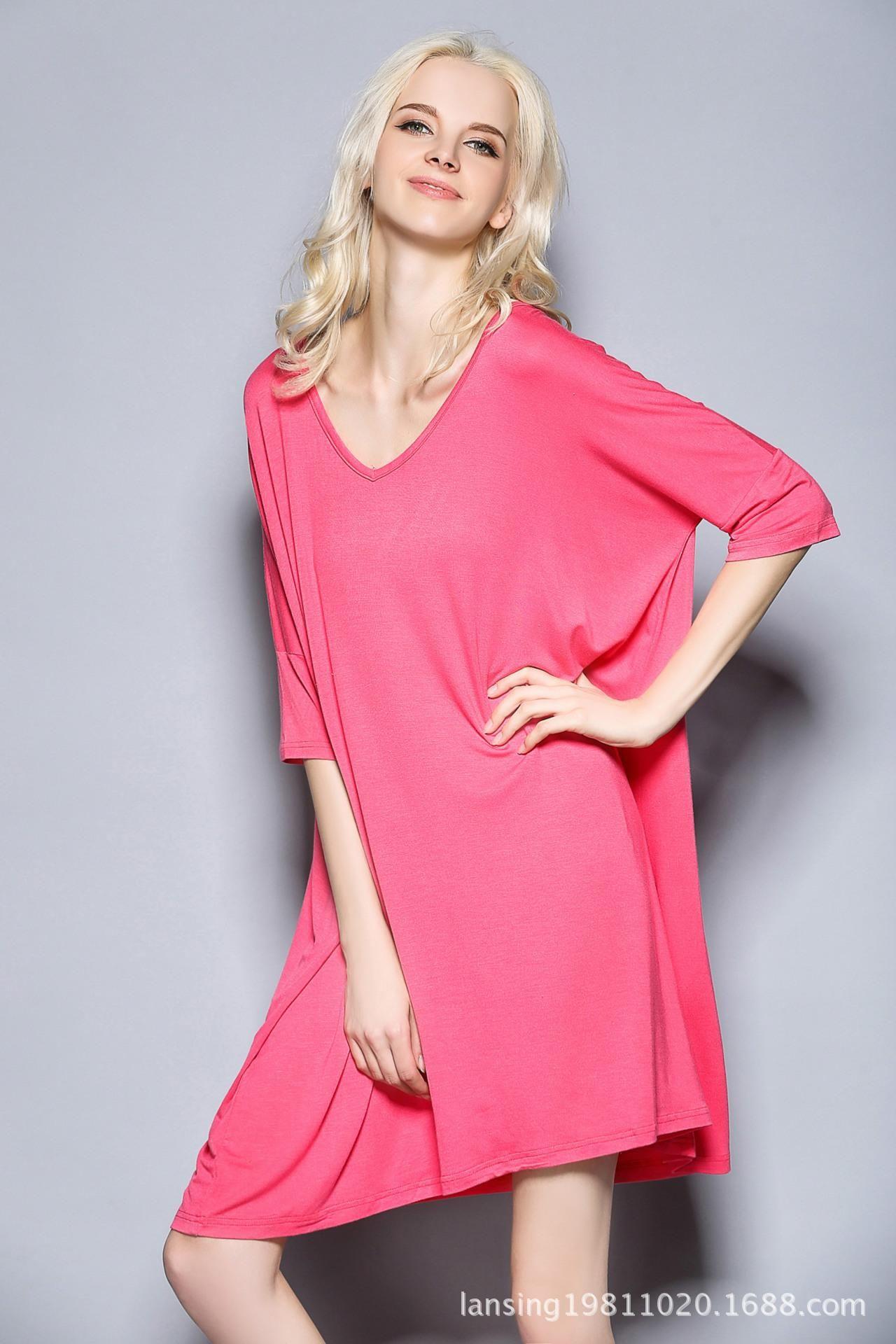 Nightdress spring and summer new medium and long T-shirt medium sleeve large size nightdress modal Pajama has fat plus size women Claret