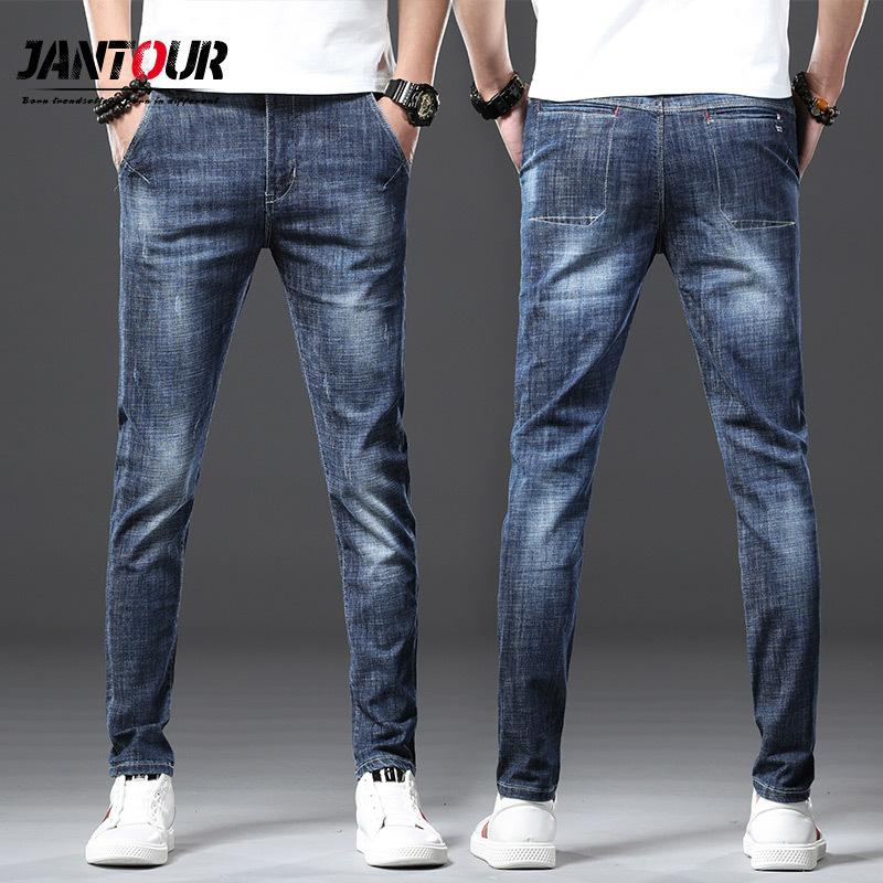Jantour 2020 Fashion Brand European American Style Stretch Men Jeans Luxury Men's Denim Trousers Slim Straight Deep blue Mens T200613