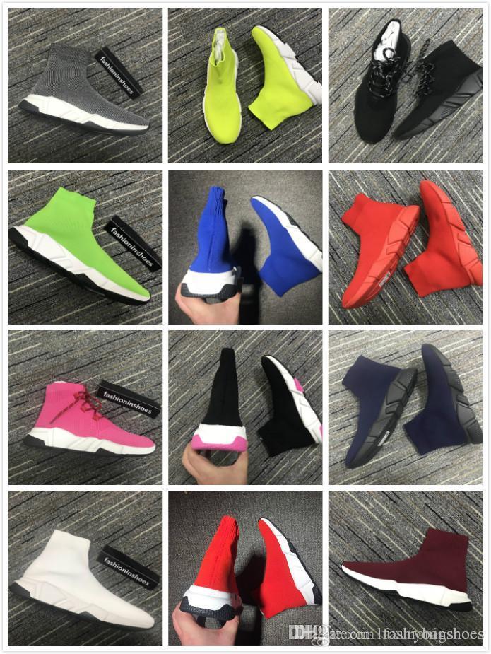 donne Velocità Mid-Top Trainer calzino scarpe da tennis stivali da uomo rosso fondo Speed Trainer All'aperto Runner appartamenti casuali Scarpe Kanye cc epoca 35-